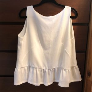 French Connection White Peplum Top With Open Back